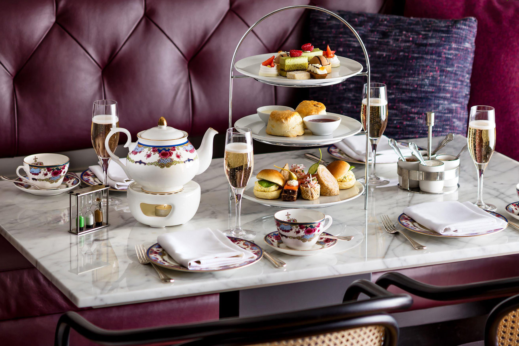 Afternoon Tea Tiers with Champagne