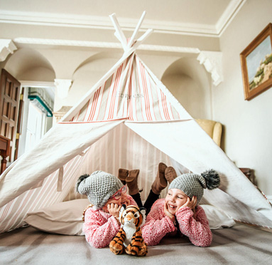 Two little girls enjoying their tent at the Empress